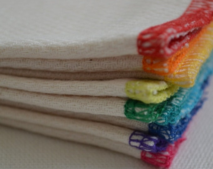 30 pack 2-Ply GOTS Certified Organic Cotton Little Wipes 8x8.....Your Choice of Edging Color