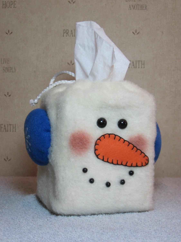 Snowman pattern snowman tissue box cover 634 for Tissue box cover craft