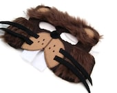 Beaver Mask, Woodland Animal Mask, Animal Fur Mask, Animal Birthday Party Favor, Children's Halloween Costume, Adult Mask