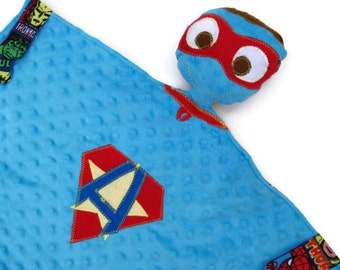 Security Blanket Lovie, Custom Superhero Lovey, Luvie, Woobie, Baby Safe Toy, Minky Snuggle Blanket, Baby Shower Gift, Personalized