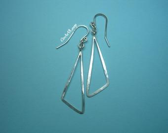 Scalene triangle hoop sterling silver earrings