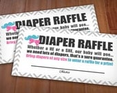 BEAU or BOW RAFFLE Ticket in Pink and Teal - Instant Printable Download