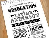 LETTERPRESS Printable Graduation Announcement