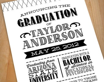 LETTERPRESS Printable Graduation Announcement