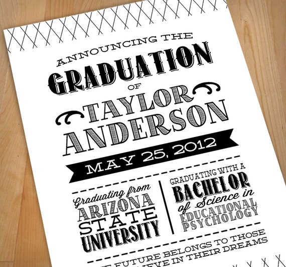 Letterpress printable graduation announcement for Graduation announcements pinterest