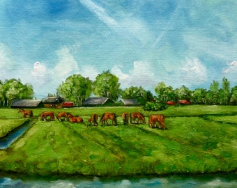 Dutch Landscape Horses in field Netherlands oil painting 11,5 x 15,5 inches