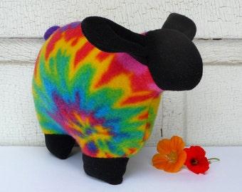 Rainbow tie-dye sheep stuffed animal, stuffed sheep, snuggly stuffed lamb, fleece sheep