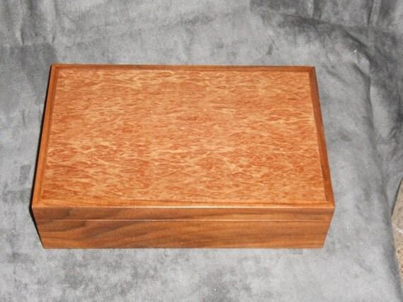 Beautiful Walnut and Maple Burl Jewelry box.
