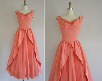 50s dress / 1950s peachy pink ball gown / vintage 1950s dress
