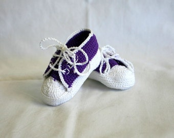 Newborn baby sneakers 0-3 month purple white crochet shower gift amethyst violet girl soft soled booties infant tennis shoes feminine