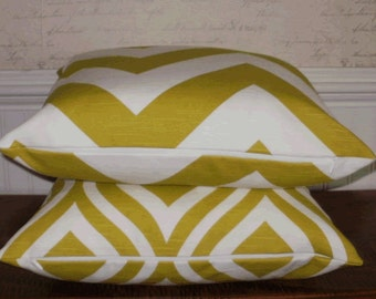 SALE - Decorative Pillow:  18 X 18 Designer Accent Throw Pillow Cover in Large Chartreuse Green Chevron ...Home & Living...Home Decor