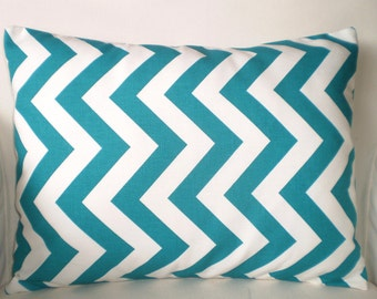Turquoise Chevron Lumbar Throw Pillow Cover, Cushion Cover True Turquoise White Zig Zag Chevron, Decorative Throw, One 12 x 16 or 12 x 18