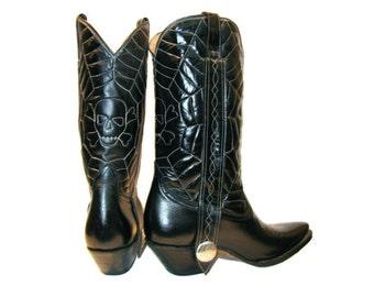 Mens Vintage Cowboy  Boots 1980s Gothabilly Rancho Loco Spiderweb Stitch Western Boots Mns US size 8
