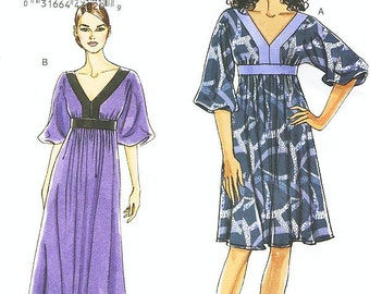 SZ 8/10/12/14 - Vogue Dress Pattern V8591 - Misses' Dresses in Two Lengths