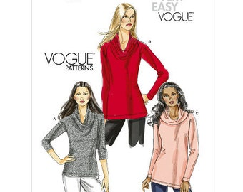 Sz 6/8/10/12 Vogue Top Pattern V8597 - Misses' Top in Three Variations - Very Easy Vogue