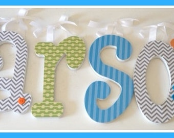 Baby Boy, Nursery Wall Letters, Wood Letter Decor, KARSONS Theme, turquoise lime, grey and orange, Hanging Name Sign, Chevron, Dots