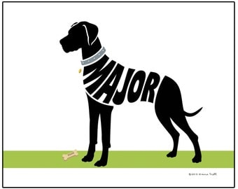 Personalized Great Dane Silhouette Print, Natural Ears or Cropped Ears, Dog Memorial Gift