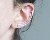 Double Line Ear Cuff.  Minimalist. Statement Ear Bar.