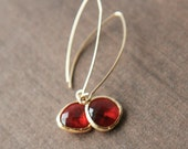 Gold Earrings,Red Earrings,Dainty Earrings,Delicate Earrings,Drop Earrings,Long Earrings,Bride Earrings,Bridesmaids Gift
