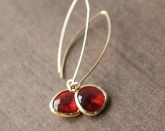 Gold Earrings,Red Earrings,Delicate Earrings,Drop Earrings,Long Earrings,Mothers Day,Mothers Day Gift