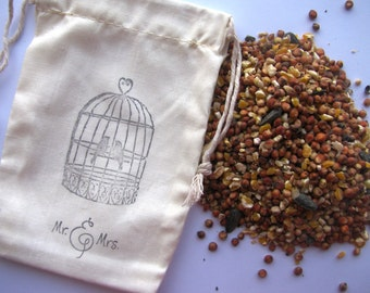 150 Bird seed filled muslin drawstring bags- hand stamped with bird cage and Mr and Mrs
