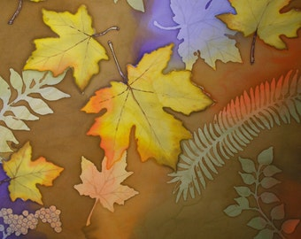 Autumn Leaves Painted Fabric Panel Hand Painted Quilt Block