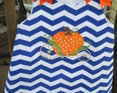 Pumpin carriage applique Halloween bright blue chevron dress sizes 9mo 1T 2T 3T 4T