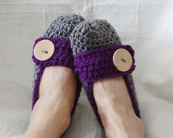 Crochet Slippers Womens Flats Heather Gray and Dark Plum