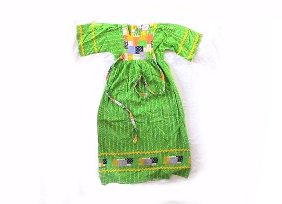 vintage dress girls clothing hippie 1970s children patchwork kelly green ric rac size 6
