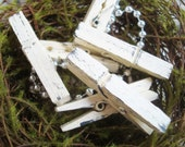 Cream & Smoke (Ivory/Gray) Distressed Mini 2 Inch Clothespins Set of 6 - Shabby Chic Wall Art. Wedding Decor. Banner Holder.