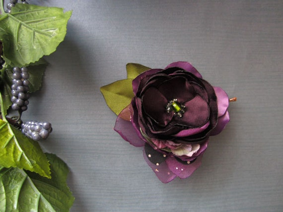 Purple Plum Flower pin Handmade weddings Party Gift Birthday Hair Accessory corsage pin boutonniere