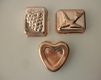 3 Copper colored aluminum Jello molds - heart, bird, grapes