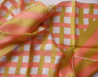 vintage Baar & Beards silk scarf - long, hand rolled, made in Japan, geometric
