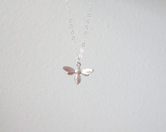 Little silver bee necklace on sterling silver chain, delicate modern jewelry