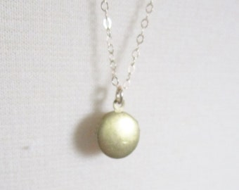 Tiny gold locket on long layering chain, 30 inches, delicate modern jewelry