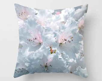 Soft Pastel Pillows, Dreamy Throw Pillow Covers, Cool Blue Cushion, Pale Blue Art Photography, White, Pink, Spring Flower, Garden Home Decor