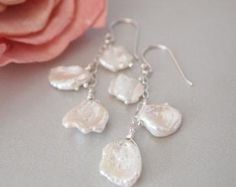 Freshwater Keishi Pearl Sterling Silver Earrings, Pearl Earrings, Keishi Pearl Earrings, Pearl Jewelry, June Birthstone, Birthstone Jewelry