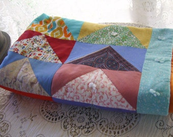 Vintage Cotton Colorful Lap Crib Quilt
