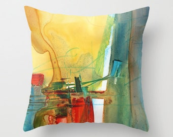 Abstract Watercolor Throw Pillow Cover