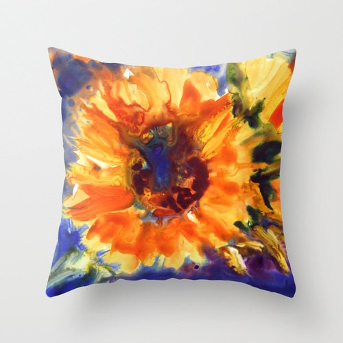 Sunflower Watercolor Throw Pillow Cover