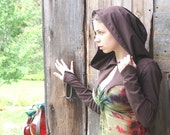 Brown hooded fairy or elven shrug -Ready to Ship-