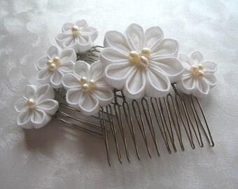 Wedding Whites Kanzashi Flower Hair Combs