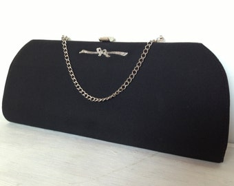 1950s Vintage Black Pin Up Rockabilly Purse / Mad Men Long Clutch Purse / Silver Bow Detailing