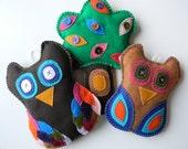 Wall Hangings - plush owls and tree Nursery Decor FREE SHIPPING