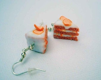 Hand made miniature orange cake earrings polymer clay jewelry