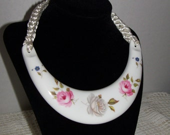 Royal Worcester Signed Kenneth Jay Lane Bone China Necklace with Pink Roses and with original Box Book Piece