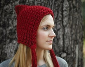 Red Riding Hood Soft Thick and Warm Knitted Pixie Hood