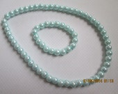 Faux Glass Pearl Set For Girls - Girls Easter Jewelry - Girls Pearl Set - Aqua Pearl Set