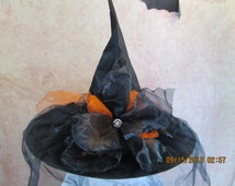 Gorgeous Witch Hat - Tulle and Organza Witch Hat - Halloween Costume Witch Hat