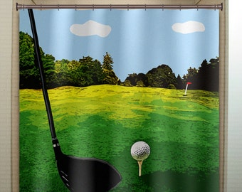 Golfer Ball Golfing Green Putt Club Golf Shower Curtain Bathroom Decor  Fabric Kids Bath Window Curtains